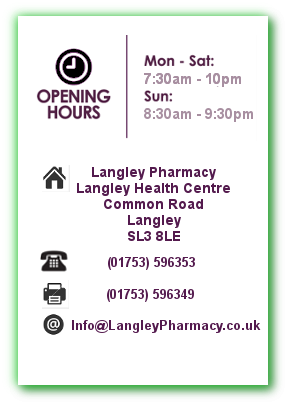 Langley pharmacy opening times and contact details